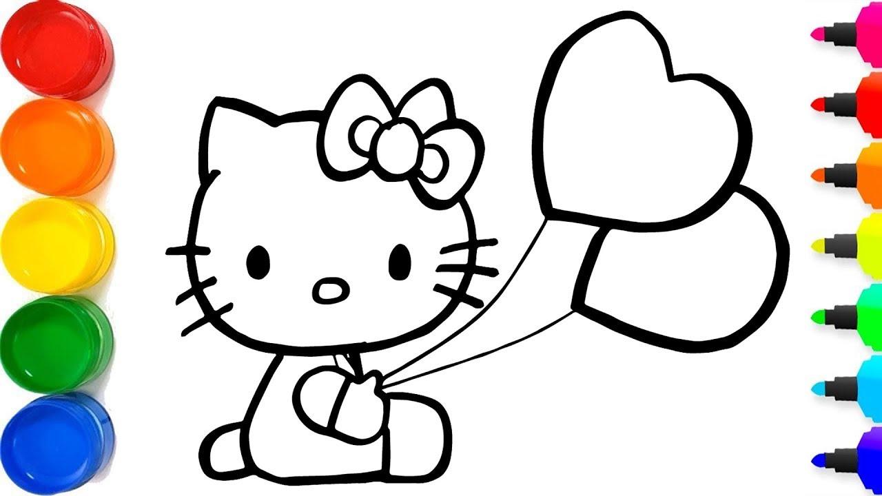 Cara menggambar hello kitty yang berkilauan untuk anak an cara mewarnai hello kitty