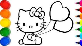 Cara Menggambar Hello Kitty Yang Berkilauan untuk anak-an | Cara Mewarnai Hello Kitty