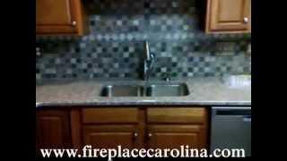 Bainbrook Brown On Golden Oak Cabinets- 3x3 Slate Tile Backsplash 5 25 13
