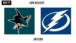 NHL Highlights   San Jose Sharks vs  Tampa Bay Lightning   Jan  19, 2019