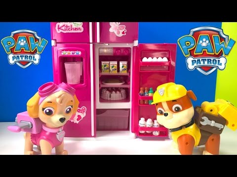 Thumbnail: Best Learning Colors Videos for Children - Paw Patrol Skye & Rubble Refrigerator and Cooking