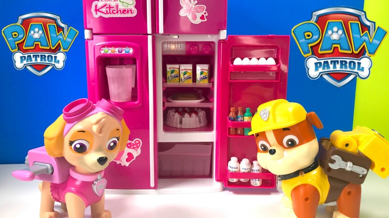 Fizzy Learning Video For Kids With Paw Patrol Pups Skye Rubble Refrigerator And Cooking Youtube