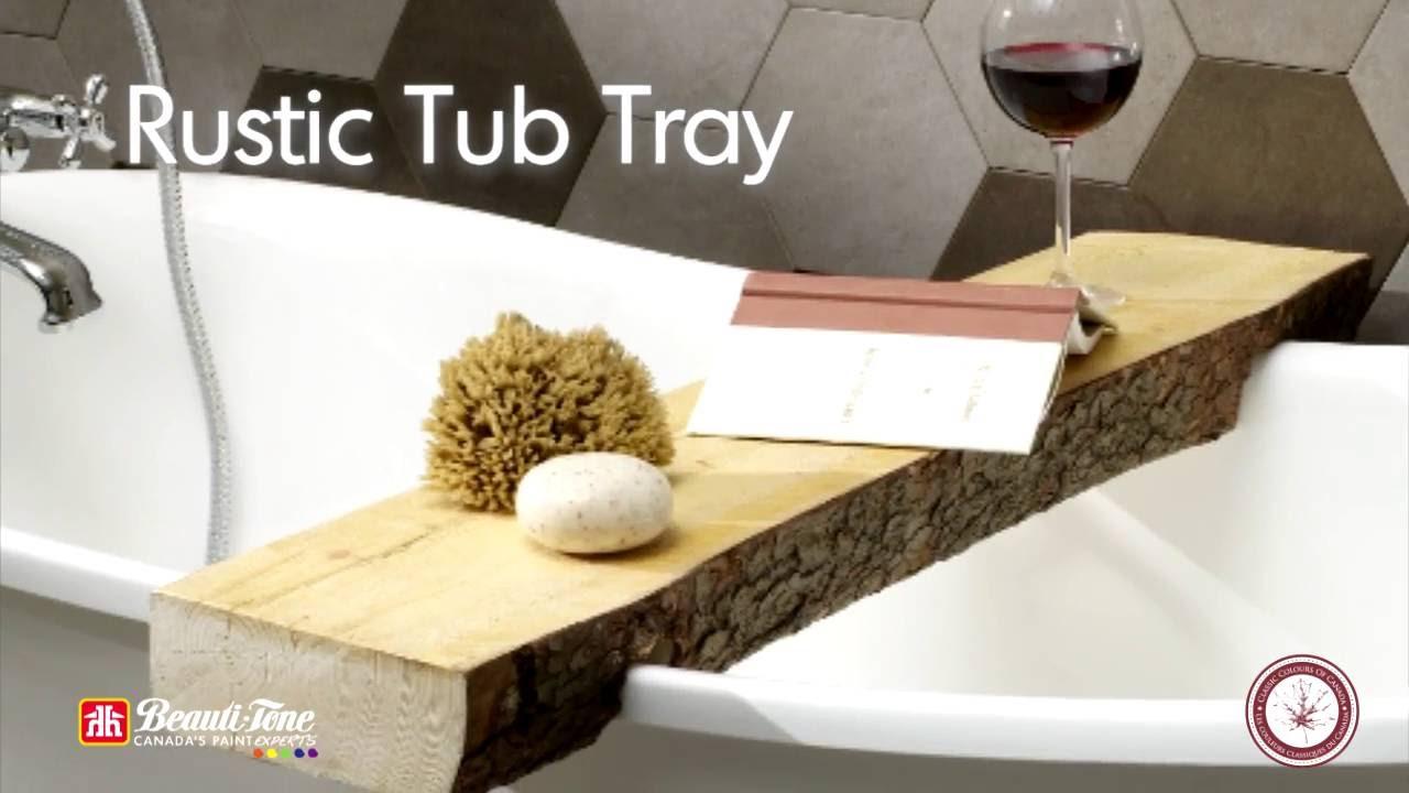 Rustic Wood Tub Tray - YouTube