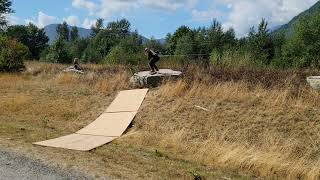 Boy Pulls a Skateboard 180 off a Rock but Missed His Landing
