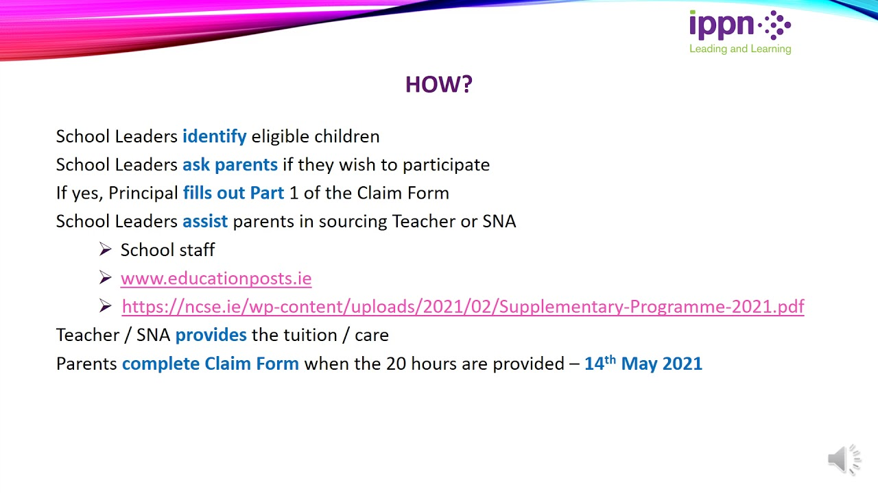 Further Explanation - In-Person Supplementary Programme