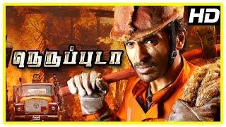 Neruppu Da Movie Scenes | Title Credits | Vikram Prabhu and friends intro fighting fire | Nagineedu