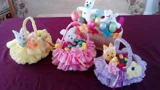 Amazing Easter Basket – crafted from recycled plastic bag and bottle.