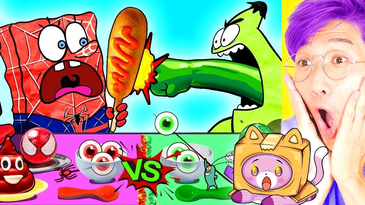 LANKYBOX REACTS to SPONGEBOB RED vs. GREEN MUKBANG! (HILARIOUS!)