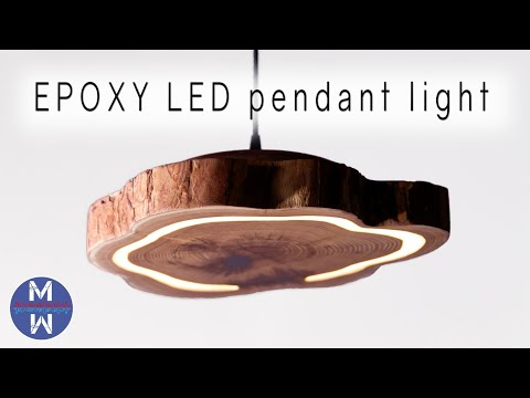 How to Make an EPOXY LED Pendant Light    woodworking & epoxy resin