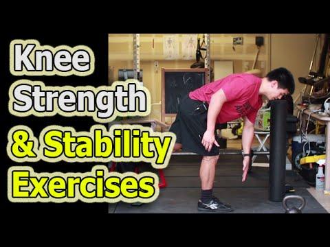 Knee Pain Strength Exercises (1-leg RDL, 1-leg squat, clam shell, sidelying abduction)