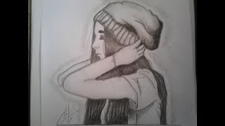 How to draw a swag  girl❤❤ , by anas djellouli رسم فتاة جميلة