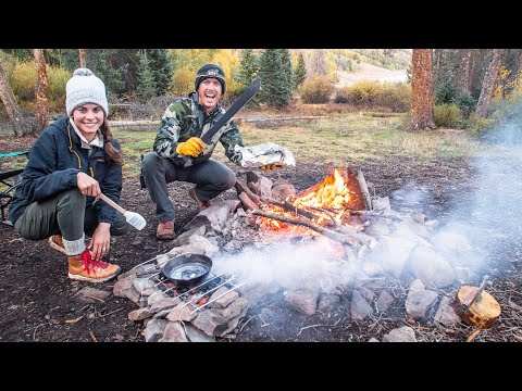 mountain-trout-fishing-|-cooking-with-camp-fire-coals!
