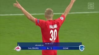 Haaland erzielt beim ersten CL-Spiel 3 Tore und feiert sich selbst | DAZN