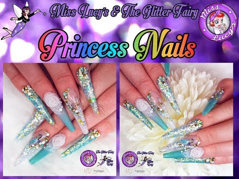 🐯Extreme Length Acrylic Extensions👸Sculpted💖Princess Nails🐯Glitter👸Water Decals/Sliders💖