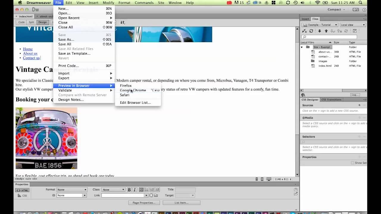 Creating navigation in Dreamweaver CC [11/34]
