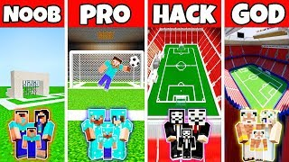 Minecraft: FAMILY FOOTBALL STADIUM BUILD CHALLENGE - NOOB vs PRO vs HACKER vs GOD in Minecraft