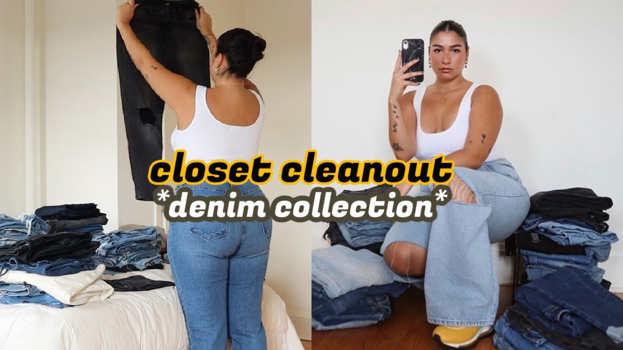 Trying on ALL my jeans *closet declutter*