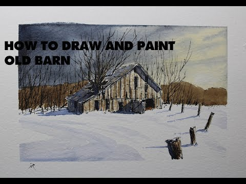 How to draw and paint Old Barn in winter,watercolor line and wash.Nil Rocha