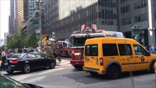 FDNY LADDER 4 BLASTING AIR HORN WHILE RESPONDING WITH FDNY ENGINE 54 AGAINST TRAFFIC ON 6TH AVENUE.