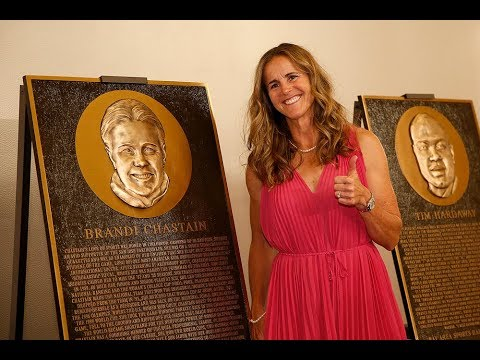 Brandi Chastain reacts to her  brandi chastain