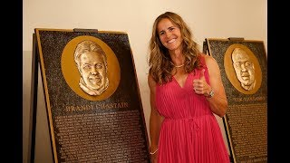 Brandi Chastain reacts to her new San Francisco Bay Area Sports Hall of Fame plaque