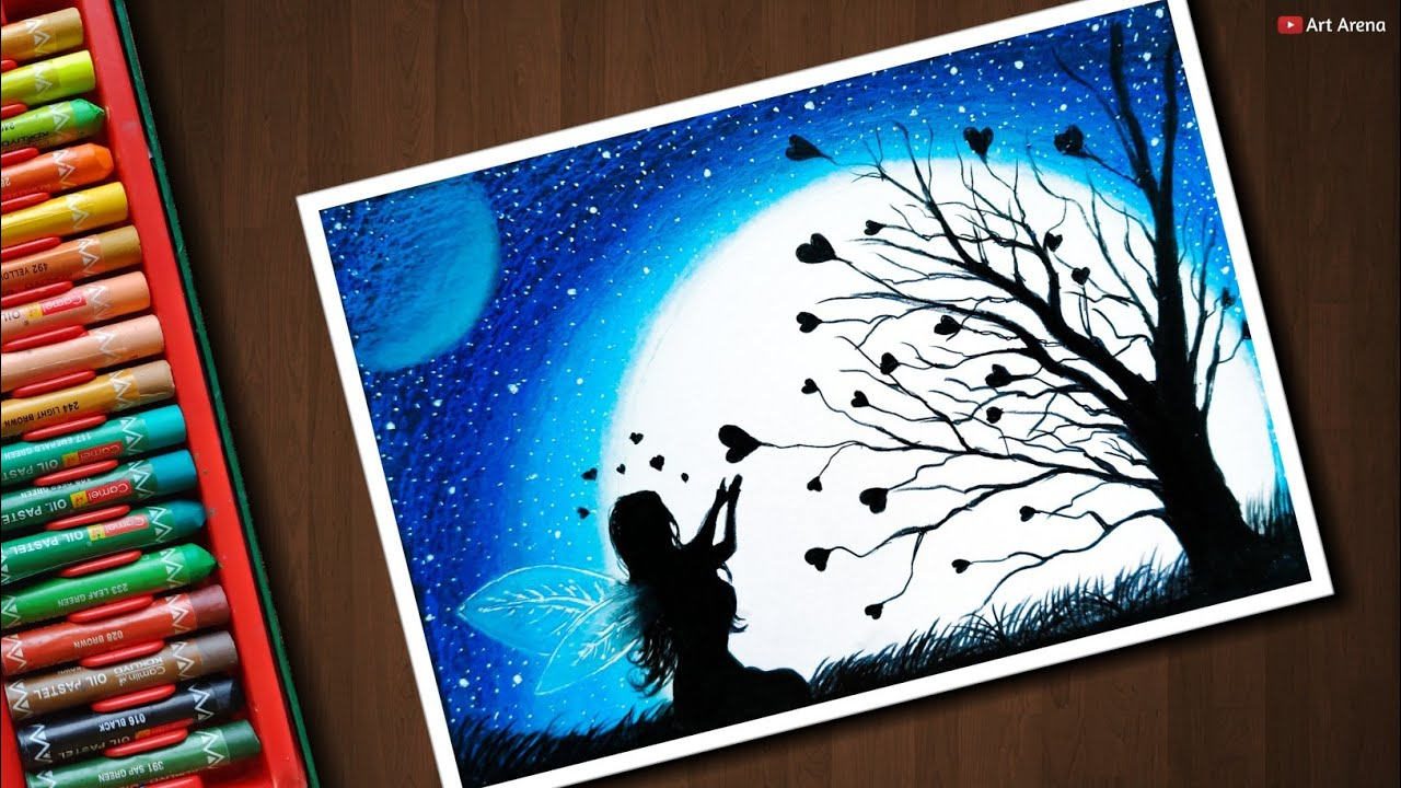 Fairy Dream scenery drawing with Oil Pastels - step by ...