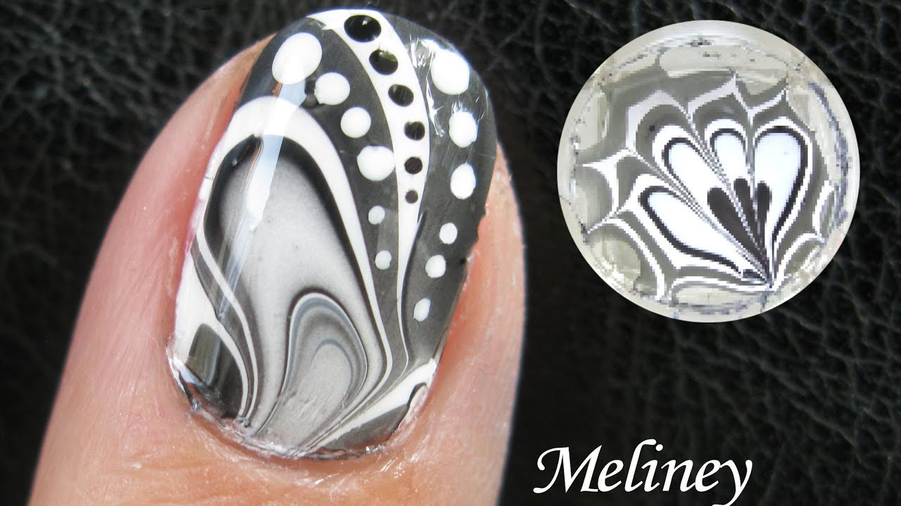 WATER MARBLE Nail Art Tutorial - Black & White Design How ...