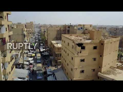 Syria: Drone shows Iran delivering aid to Deir ez-Zor after three-year siege *EXCLUSIVE*