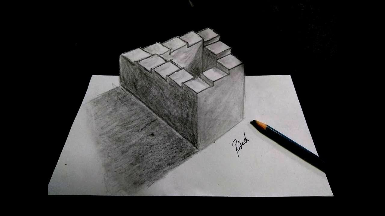 Mind Blowing Optical Illusion Never Ending Staircase Drawing 3d