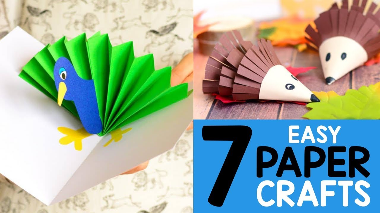 Paper Craft Ideas For Kids 7 Simple Crafts For Kids Youtube