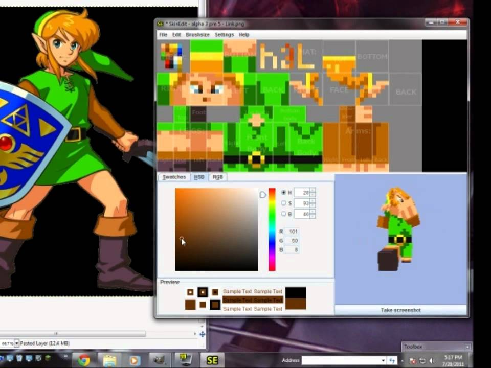 Link A Time Lapse Minecraft Skin Creation YouTube - Skins para minecraft zelda