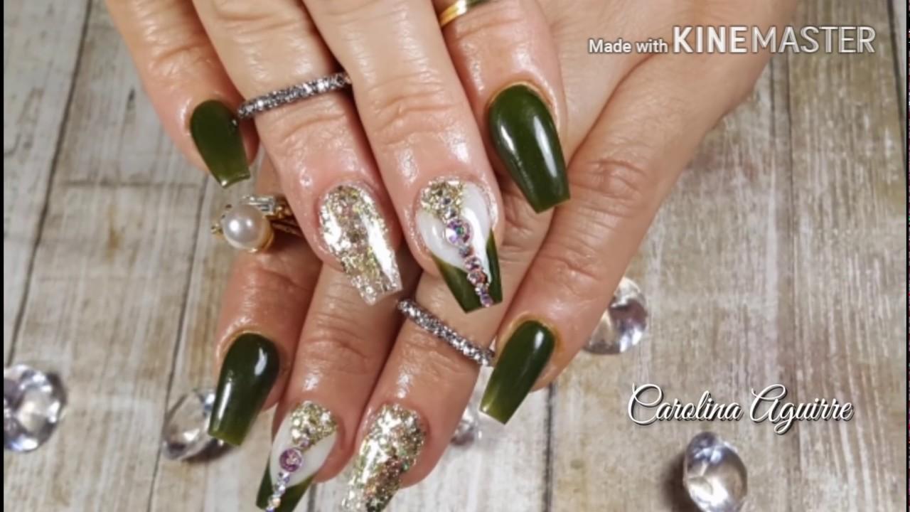 Uñas Acrilicas Con Verde Y Oro Uñas 2017 Uñas Cortas Y Elegantes