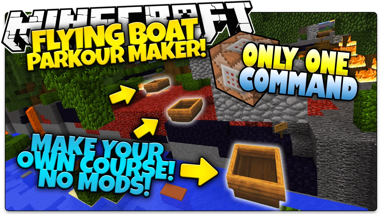 Minecraft | FLYING BOAT PARKOUR! | Create Glitch Boats! | Only One Command  (Minecraft Vanilla Mod)