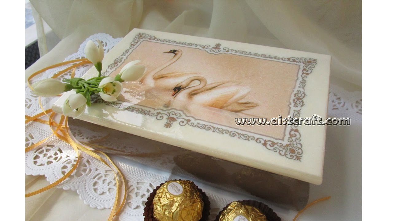 Decoupage on wood tutorial DIY - wedding gift idea - YouTube