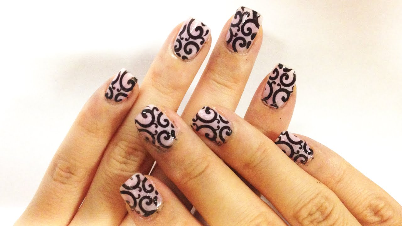 Elegant Baby Pink And Black Nail Art Stamping Tutorial Youtube