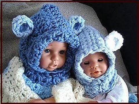 Free Teddy Bear Cowl Crochet Pattern : BABY BEAR HOODIE, how to crochet, newborn to age 5 ...
