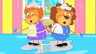 Lion Family Repair in the House Cartoon for Kids