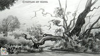 pencil landscape easy drawing beginners simple