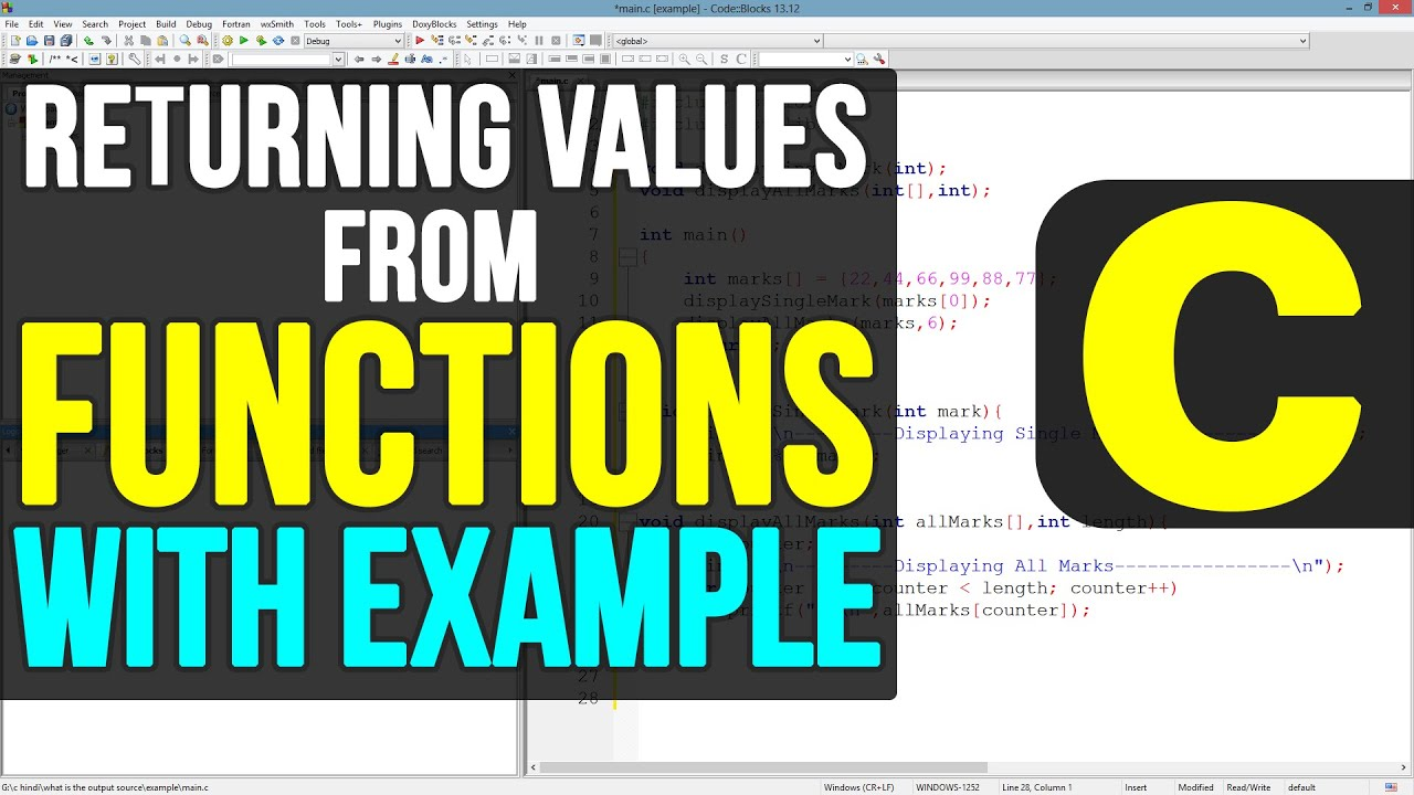 Functions Returning Values ( RETURN STATEMENT ) in C Programming Video Tutorials