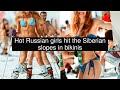 Hot Russian girls hit the Siberian slopes in bikinis