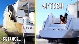 HOW WE TRANSFORMED OUR SALVAGE BOAT TRANSOM! - Episode 103