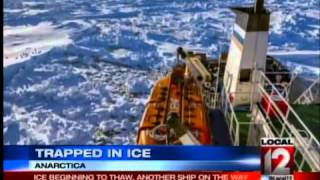 Ship still trapped in ice in Antarctica