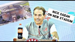 Nick Saban comments on new Alabama football stadium, drew it down on a piece of paper