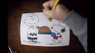 Charlie Brown Thanksgiving Coloring Time Lapse 🍃🍂🍁🍃🍂🍁