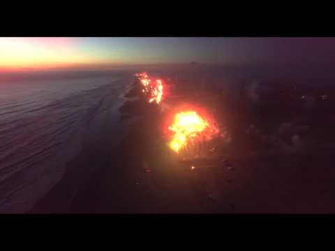 Drone Aerial Ocean Shores   4th of July Fireworks