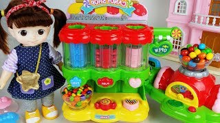 Baby doll and Candy dispenser shop play toys house story - ToyMong TV 토이몽