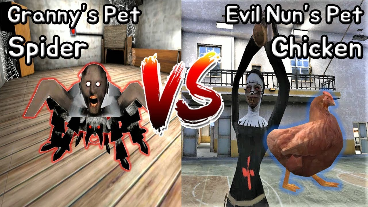 Granny's Pet Spider vs Evil Nun's Pet Chicken || Horror Game - 그래니 펫 거미 vs 미친수녀 펫 닭 배틀