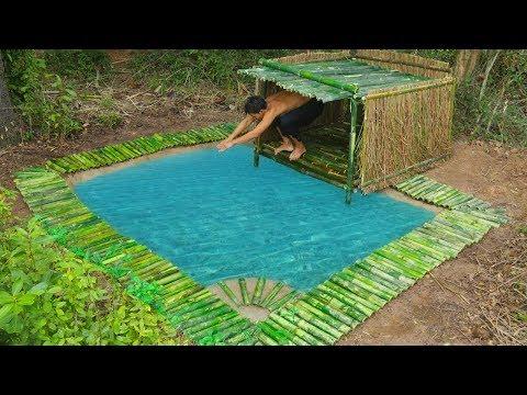 Unbelievable! Build Underground Swimming Pool and Bamboo Pool Around Underground House