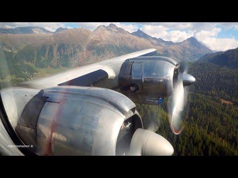 Most Beautiful Flight with Super Constellation through Swiss Alps from Samedan