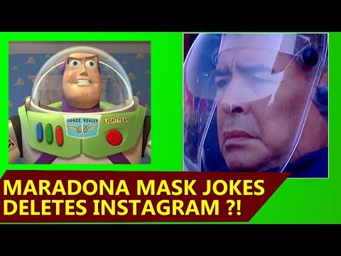 Maradona Space Face Mask Jokes And His Reaction Youtube